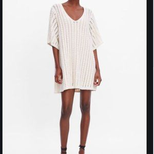 Zara Off-White Openwork Knit Dress with Nude Lining Size L